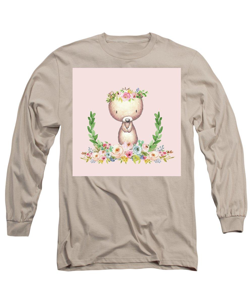Bear Long Sleeve T-Shirt featuring the digital art Boho Bear Blush Nursery Pillow Wall Art Mug Woodland Decor by Pink Forest Cafe