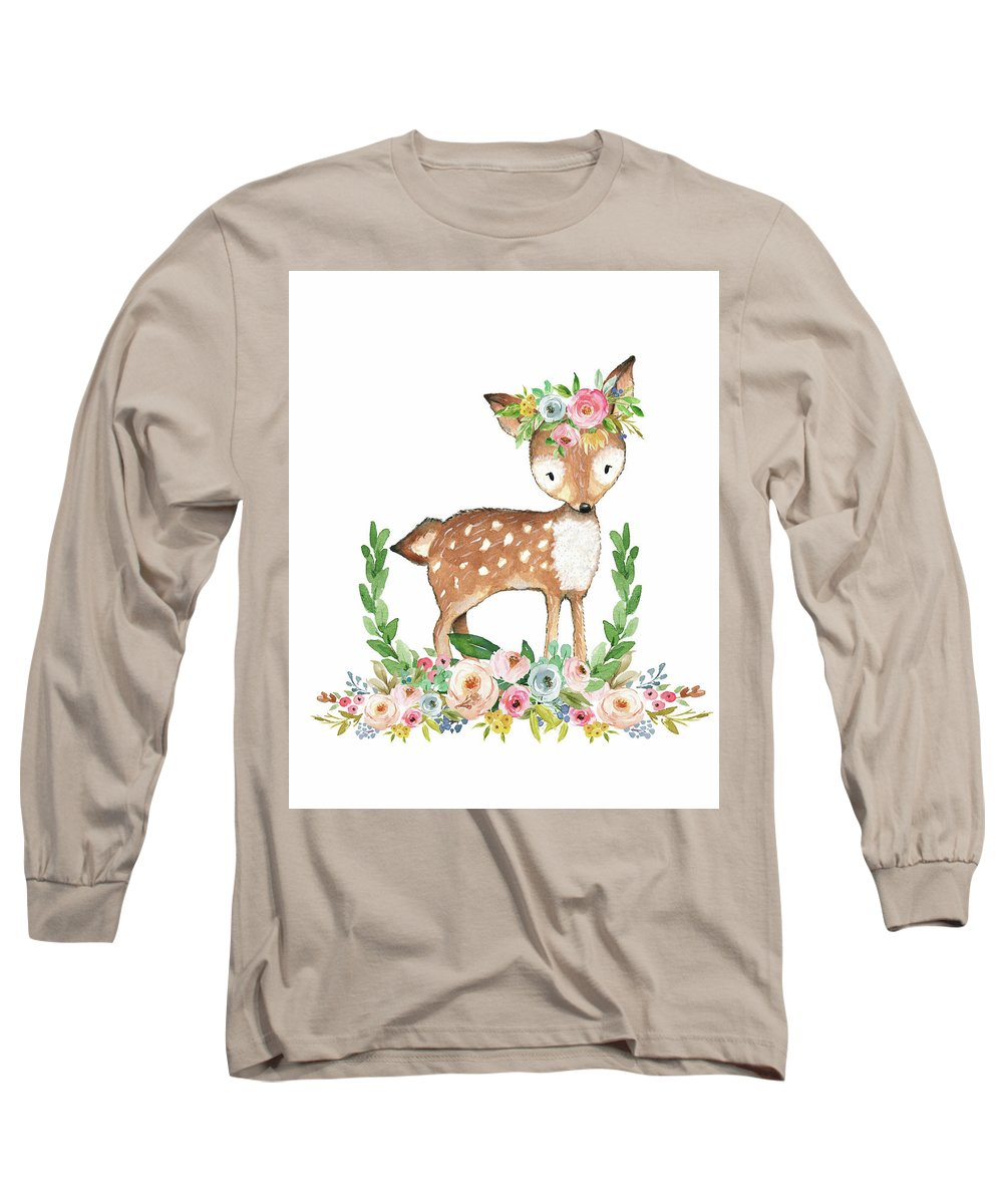 Boho Long Sleeve T-Shirt featuring the digital art Boho Woodland Baby Nursery Deer Floral Watercolor by Pink Forest Cafe