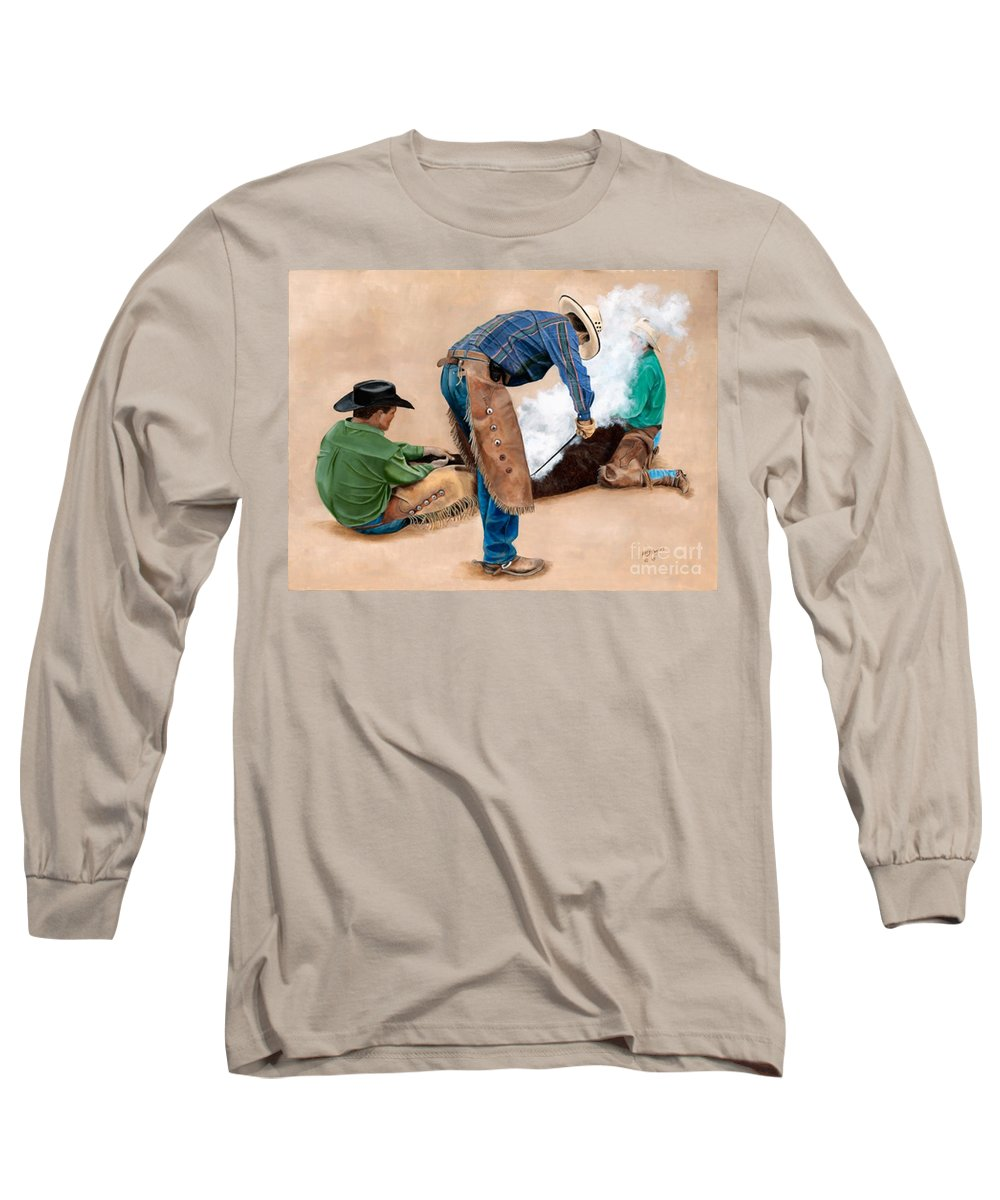 Art Long Sleeve T-Shirt featuring the painting Branding Day by Mary Rogers