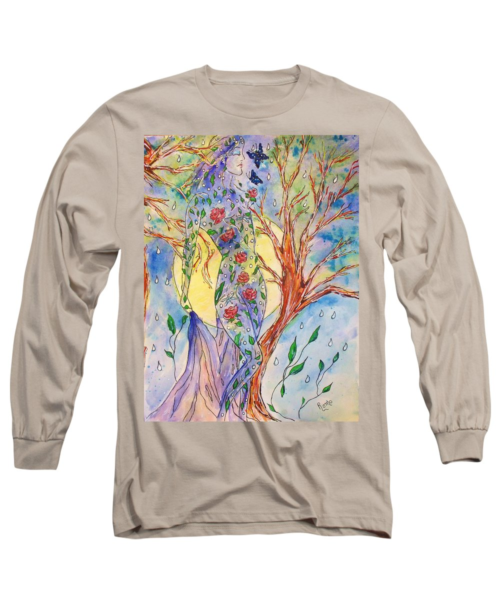 Female Figure Long Sleeve T-Shirt featuring the painting Breath Of Life by Robin Monroe