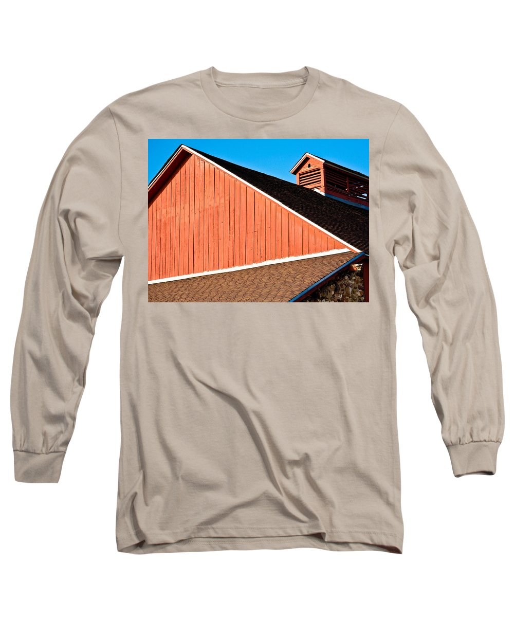 Americana Long Sleeve T-Shirt featuring the photograph Bright Red Barn by Marilyn Hunt