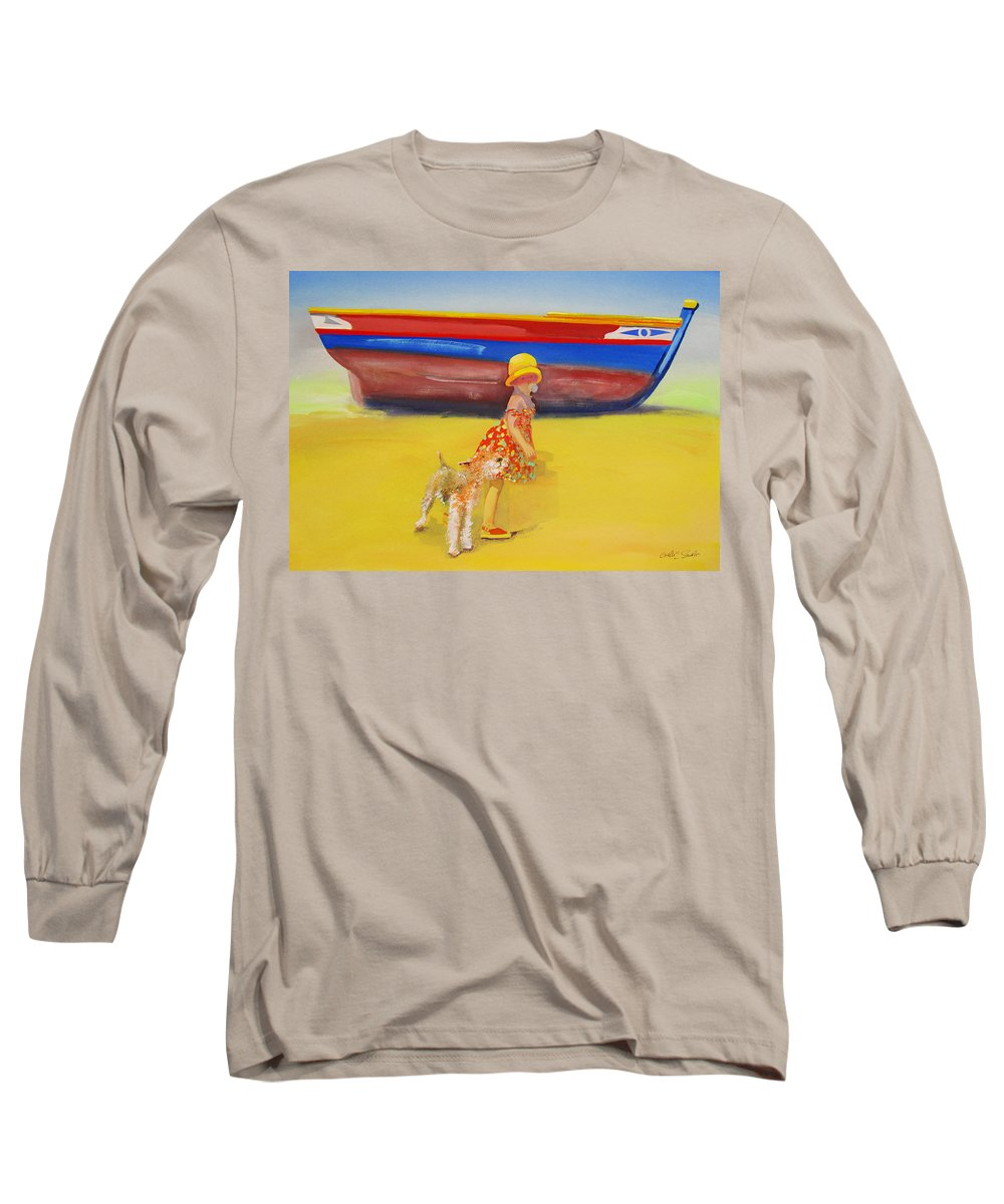 Wire Haired Fox Terrier Long Sleeve T-Shirt featuring the painting Brightly Painted Wooden Boats With Terrier And Friend by Charles Stuart