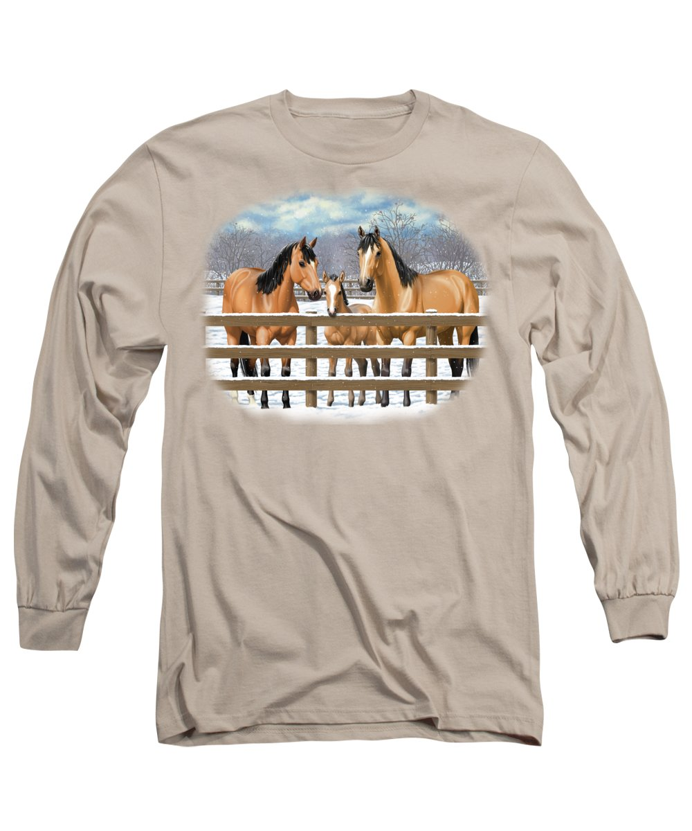 Horses Long Sleeve T-Shirt featuring the painting Buckskin Quarter Horses In Snow by Crista Forest