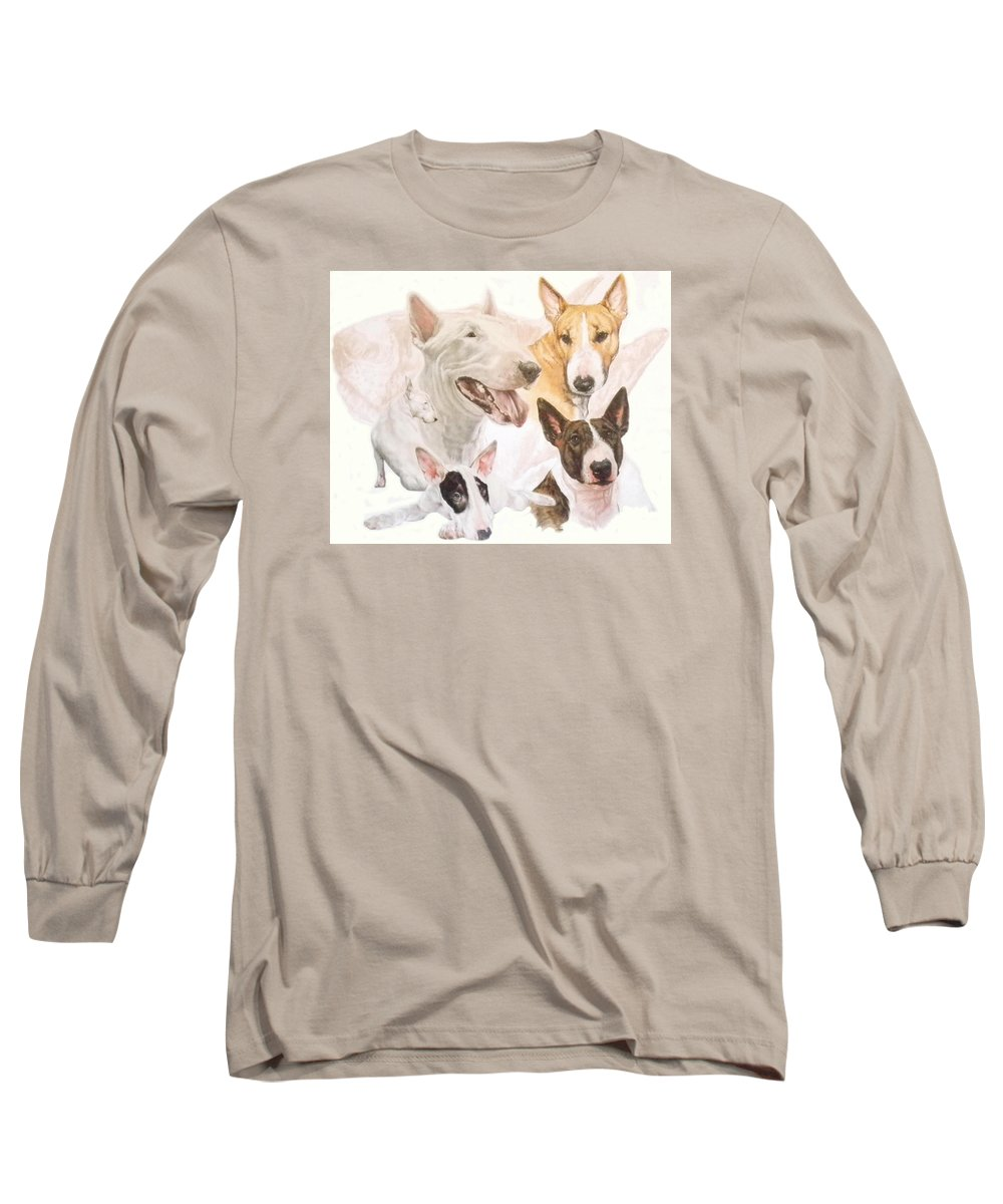 Purebred Long Sleeve T-Shirt featuring the mixed media Bull Terrier W/ghost by Barbara Keith