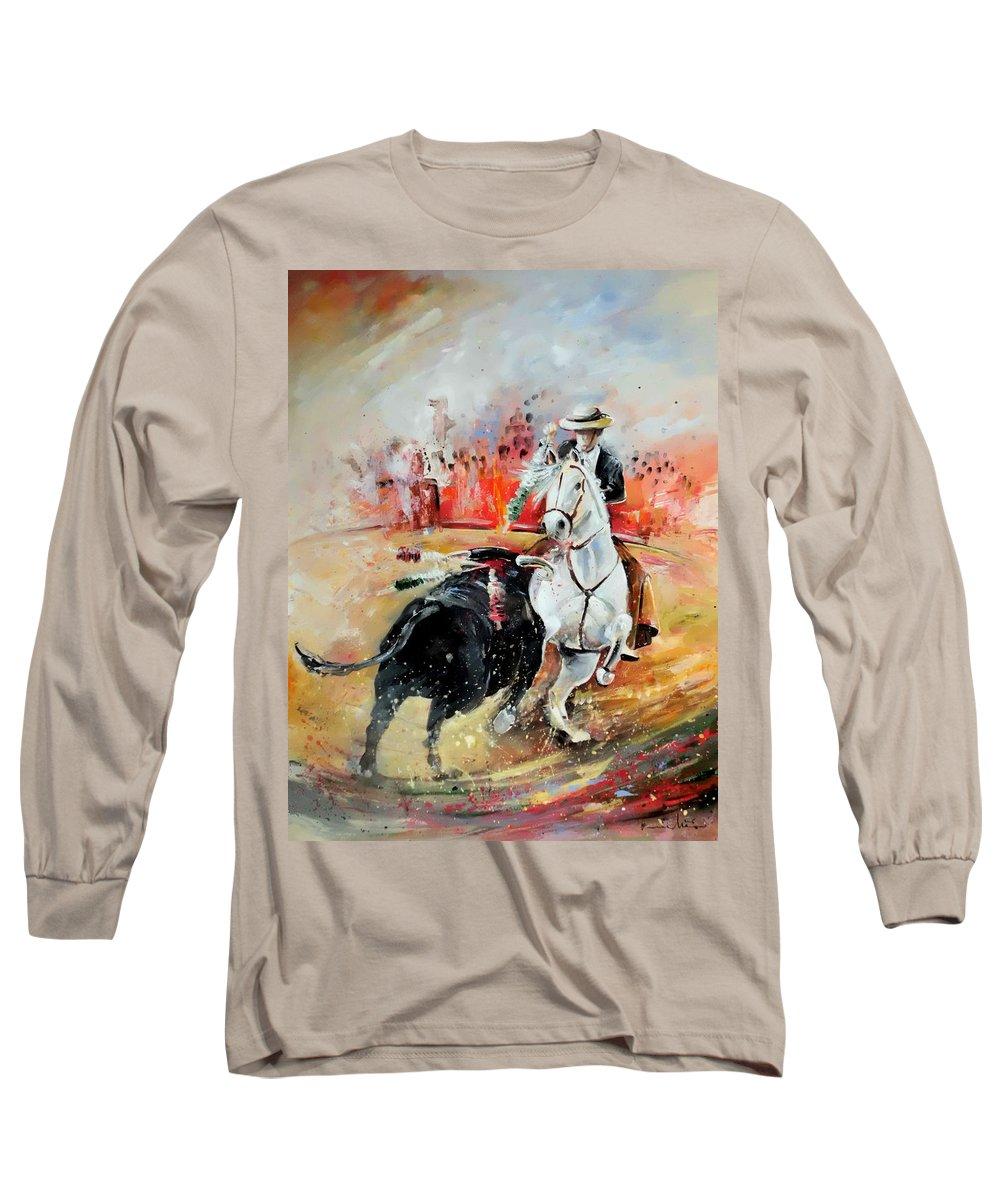 Toros Long Sleeve T-Shirt featuring the painting Bullfight 3 by Miki De Goodaboom