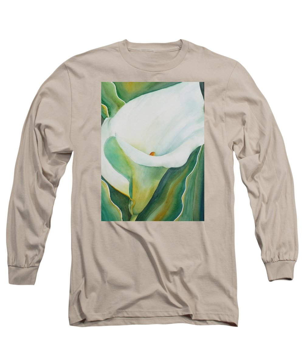 Flower Long Sleeve T-Shirt featuring the painting Calla Lily by Ruth Kamenev