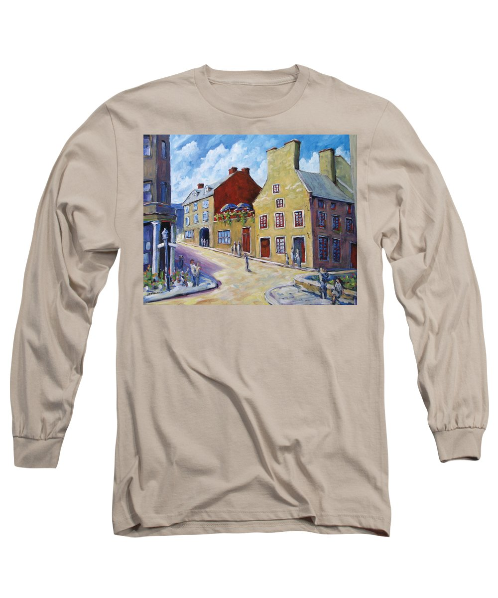 Rural Long Sleeve T-Shirt featuring the painting Calvet House Old Montreal by Richard T Pranke