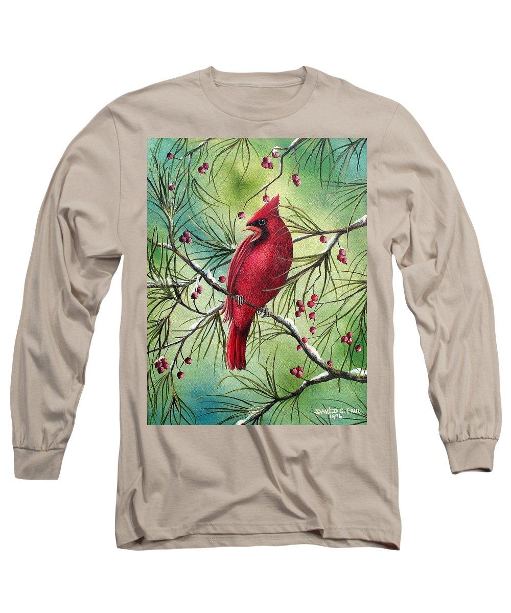 Cardinal Long Sleeve T-Shirt featuring the painting Cardinal by David G Paul