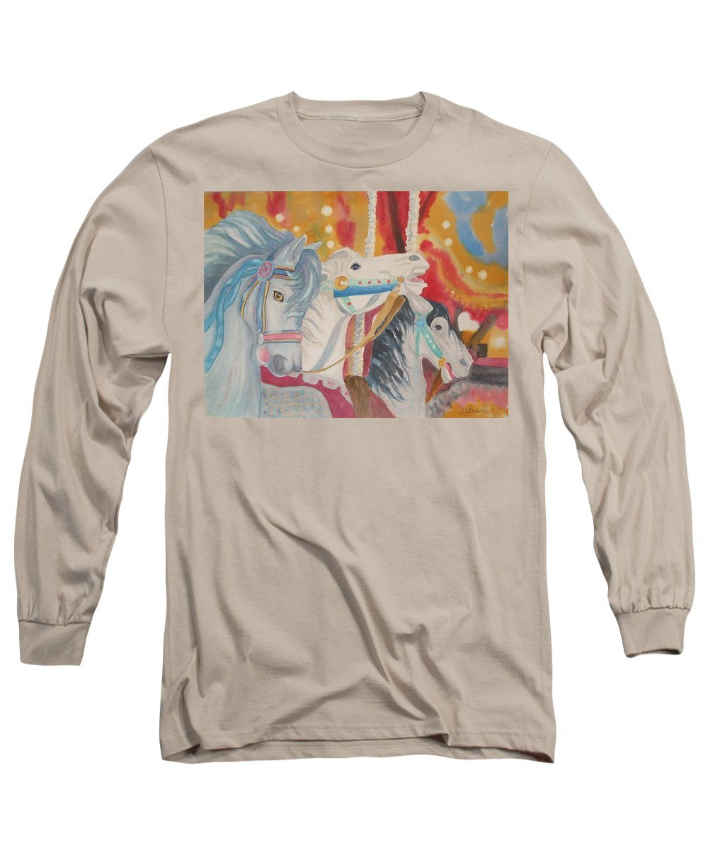 Carousel Long Sleeve T-Shirt featuring the painting Carousel 1 by Ally Benbrook