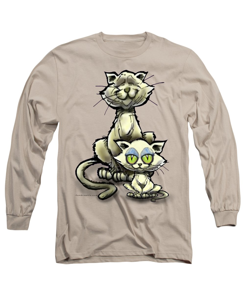 Cat Long Sleeve T-Shirt featuring the digital art Cat N Kitten by Kevin Middleton
