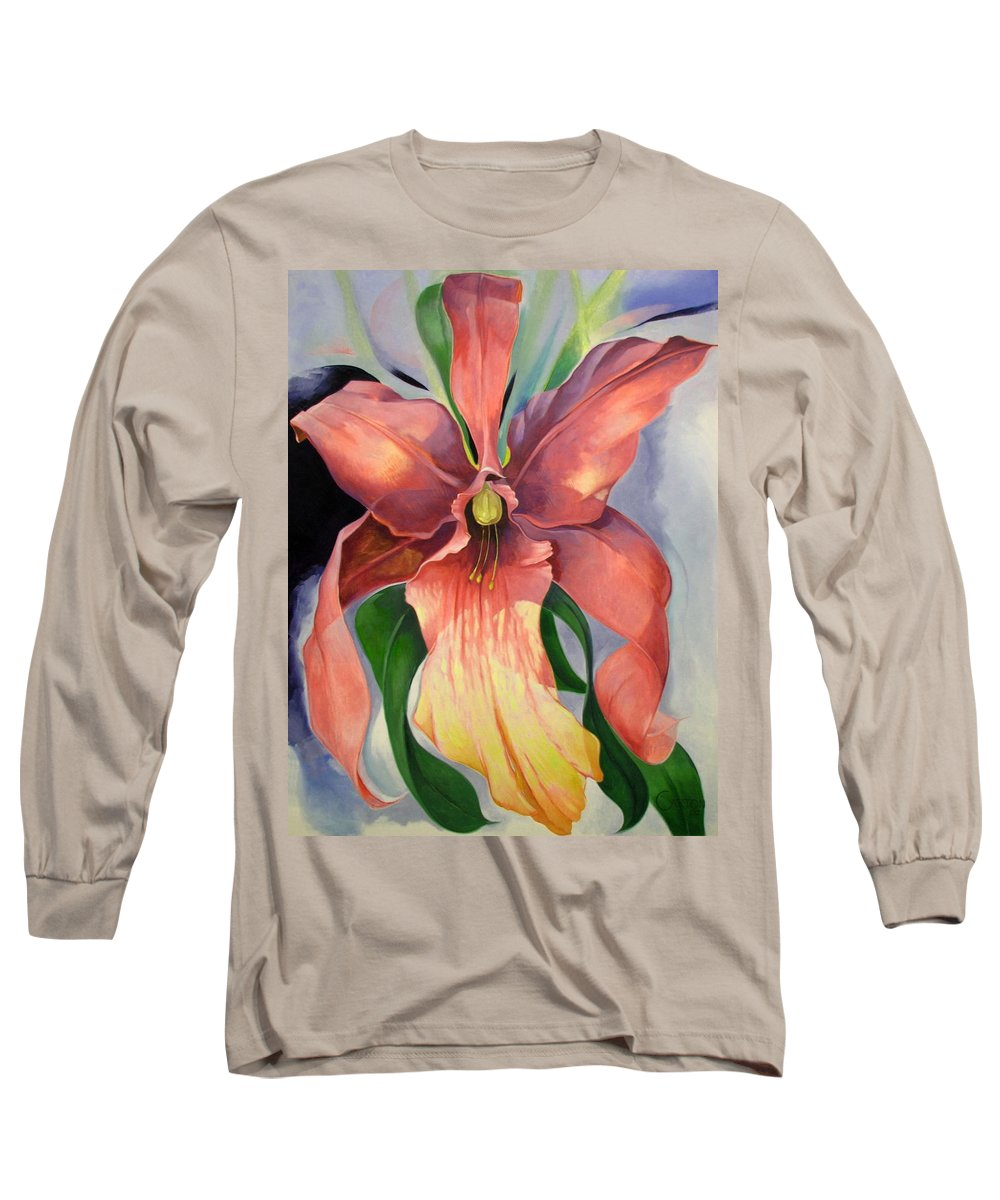 Catalya Long Sleeve T-Shirt featuring the painting Catalya Orchid by Jerrold Carton