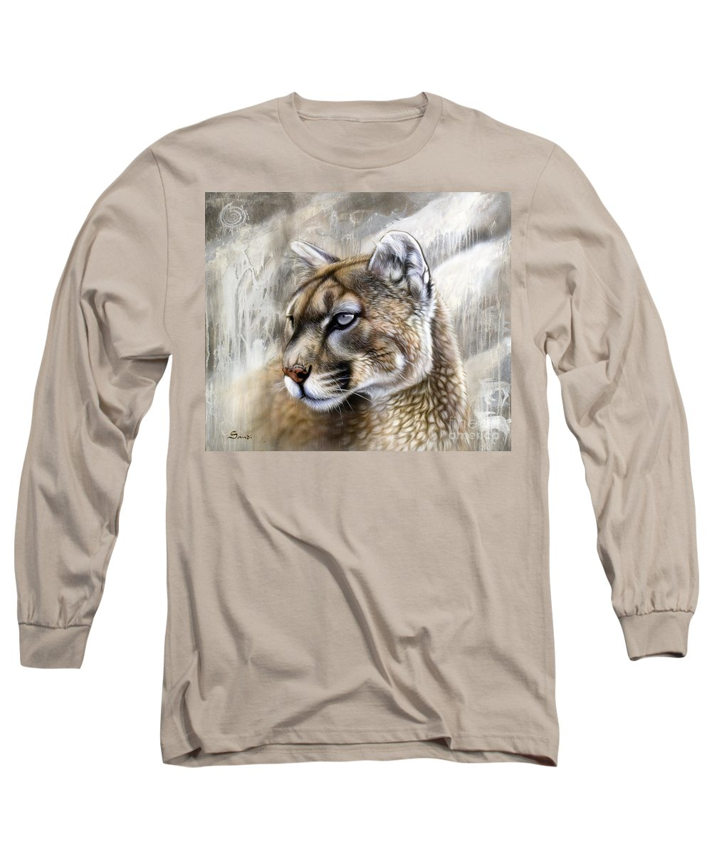 Acrylic Long Sleeve T-Shirt featuring the painting Catamount by Sandi Baker