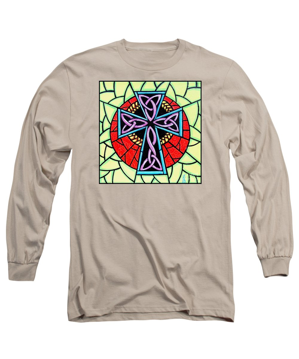 Celtic Long Sleeve T-Shirt featuring the painting Celtic Cross by Jim Harris