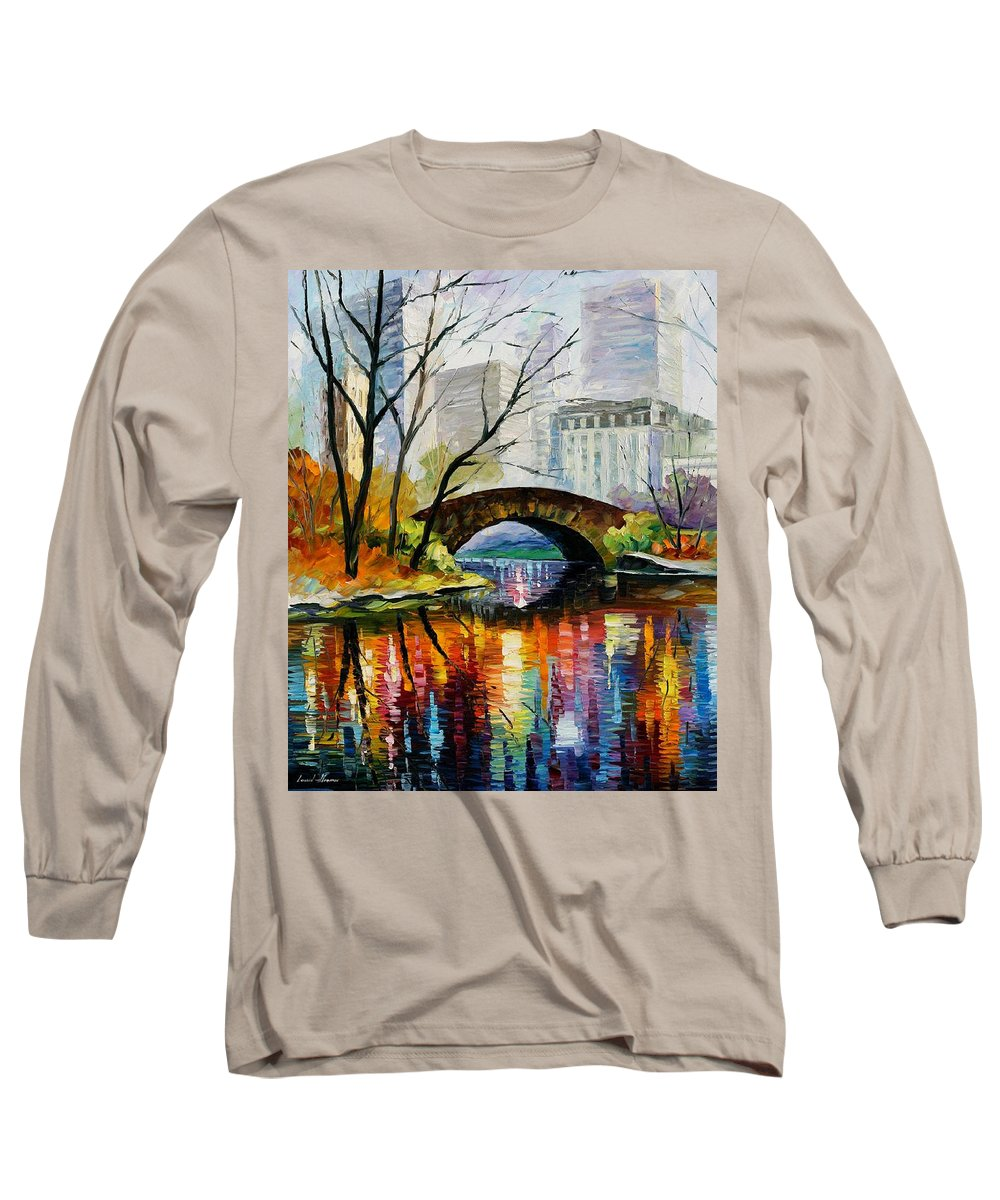 Landscape Long Sleeve T-Shirt featuring the painting Central Park by Leonid Afremov