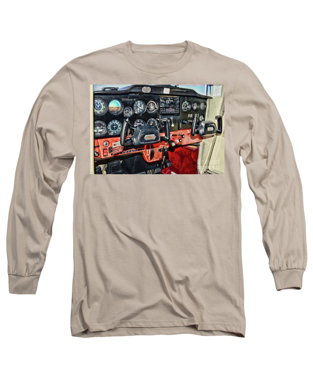 Paul Ward Long Sleeve T-Shirt featuring the photograph Cessna Cockpit by Paul Ward