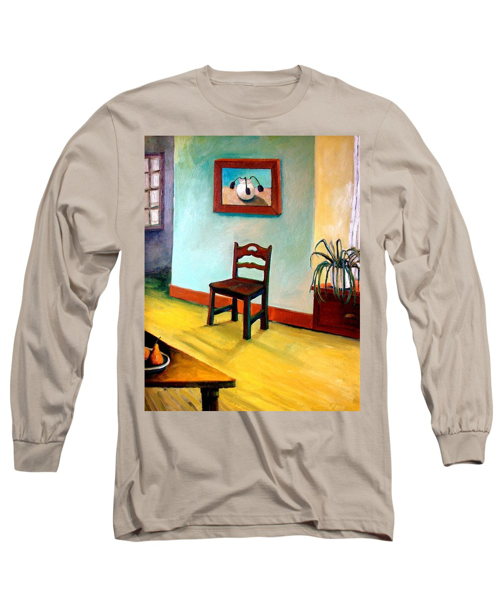 Apartment Long Sleeve T-Shirt featuring the painting Chair And Pears Interior by Michelle Calkins