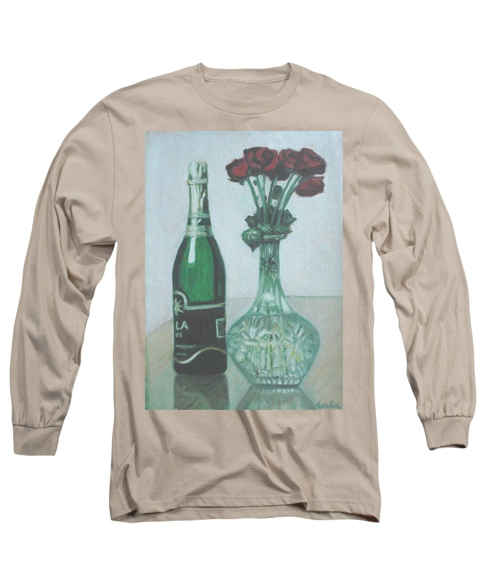 Champagne Long Sleeve T-Shirt featuring the painting Champagne And Roses by Usha Shantharam