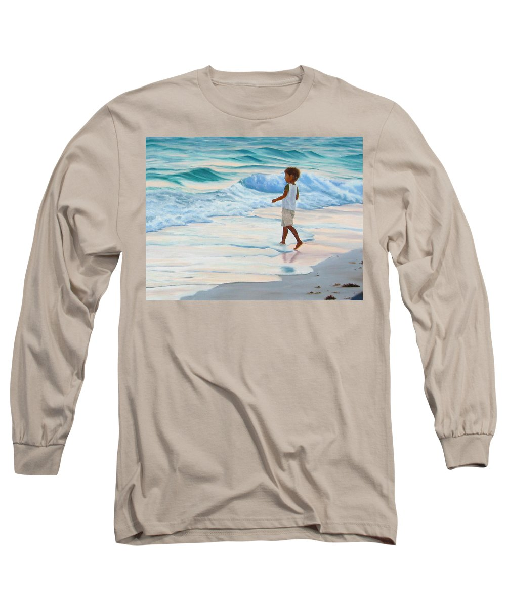 Child Long Sleeve T-Shirt featuring the painting Chasing The Waves by Lea Novak