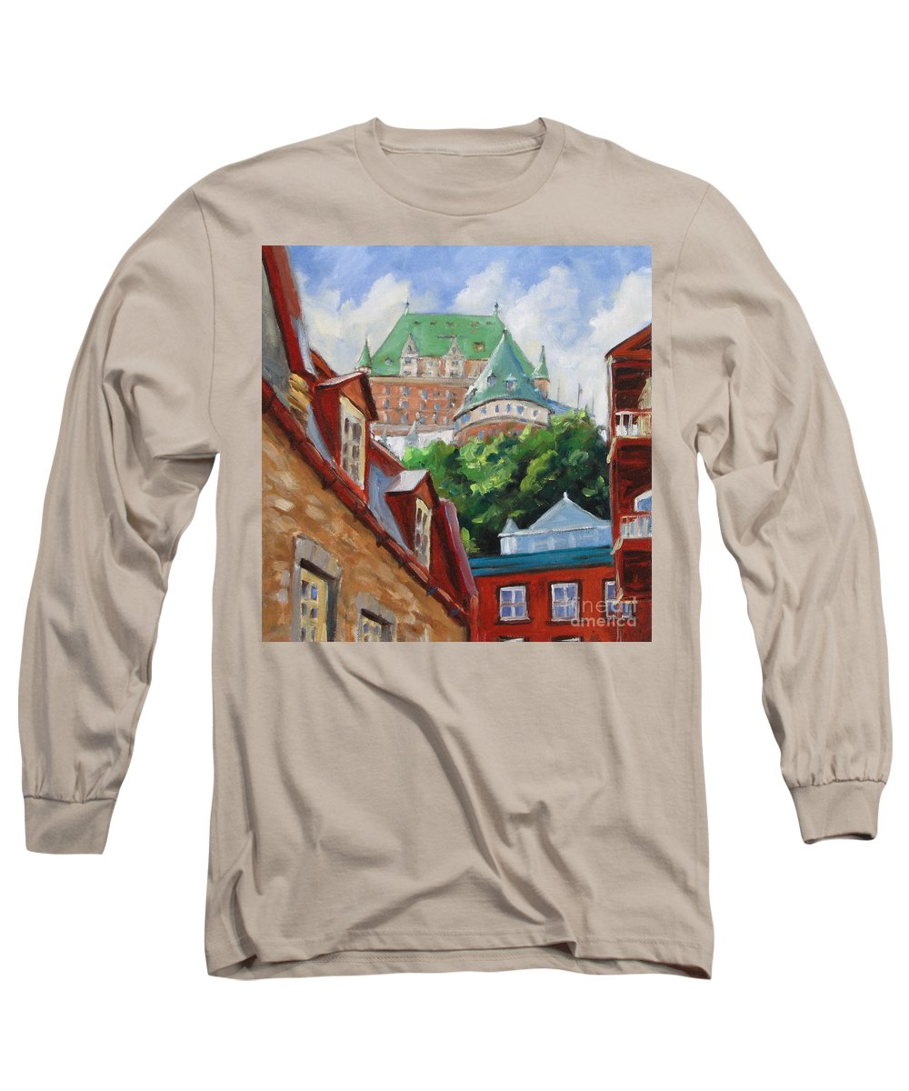 Chateau Frontenac Long Sleeve T-Shirt featuring the painting Chateau Frontenac by Richard T Pranke