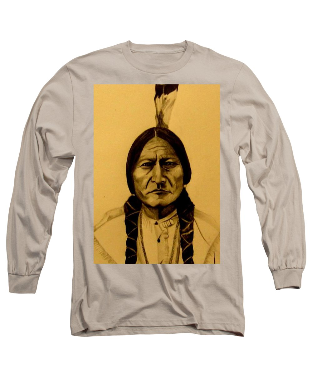Portrait Long Sleeve T-Shirt featuring the drawing Chief Sitting Bull Tatanka Iyotake by Michelle Dallocchio