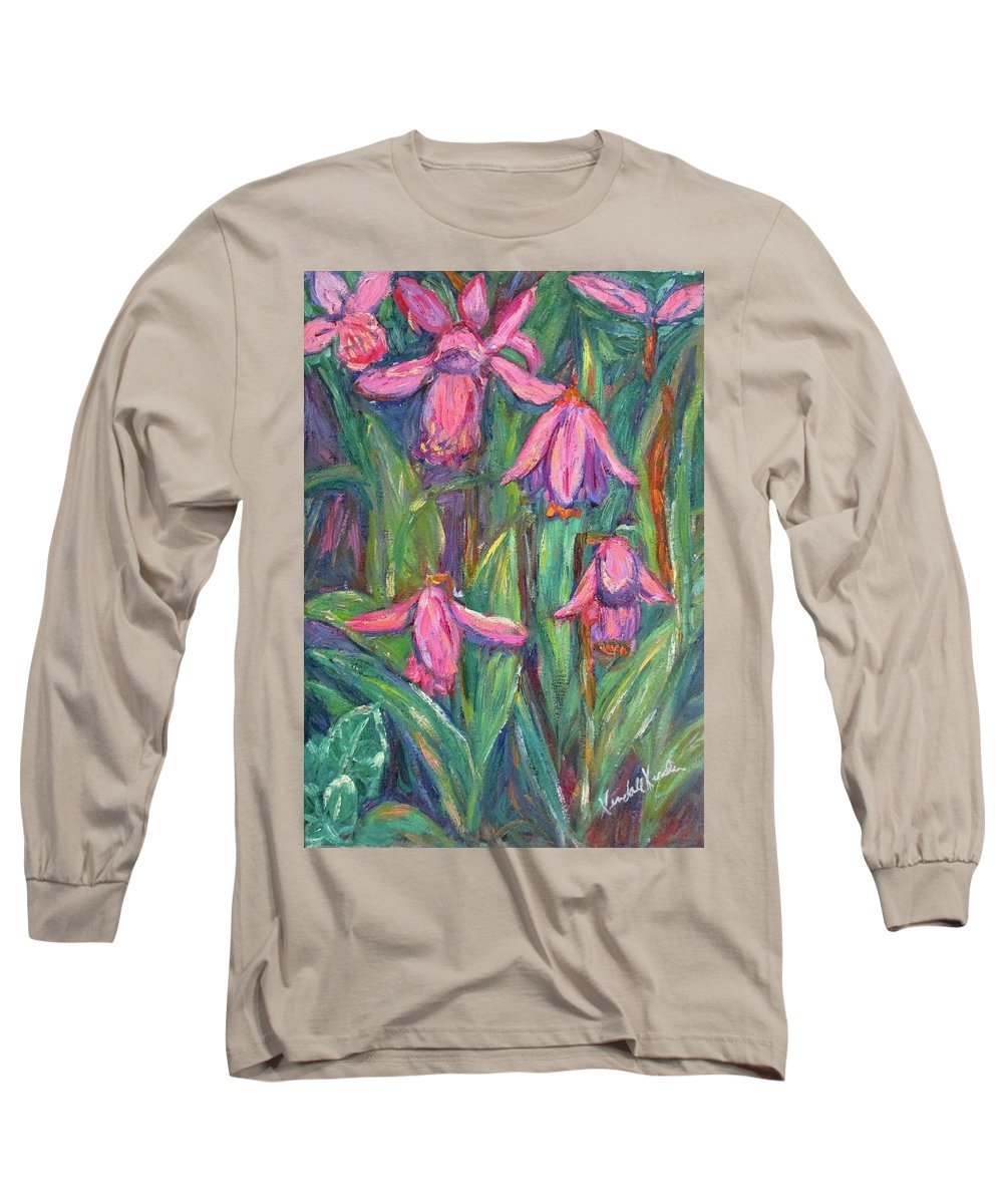Floral Long Sleeve T-Shirt featuring the painting Chinese Orchids by Kendall Kessler
