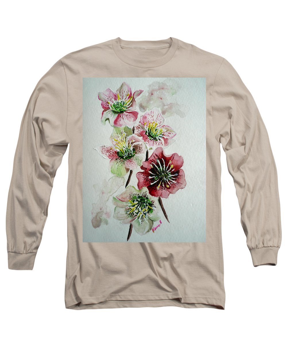 Floral Flower Pink Long Sleeve T-Shirt featuring the painting Christmas Rose by Karin Dawn Kelshall- Best