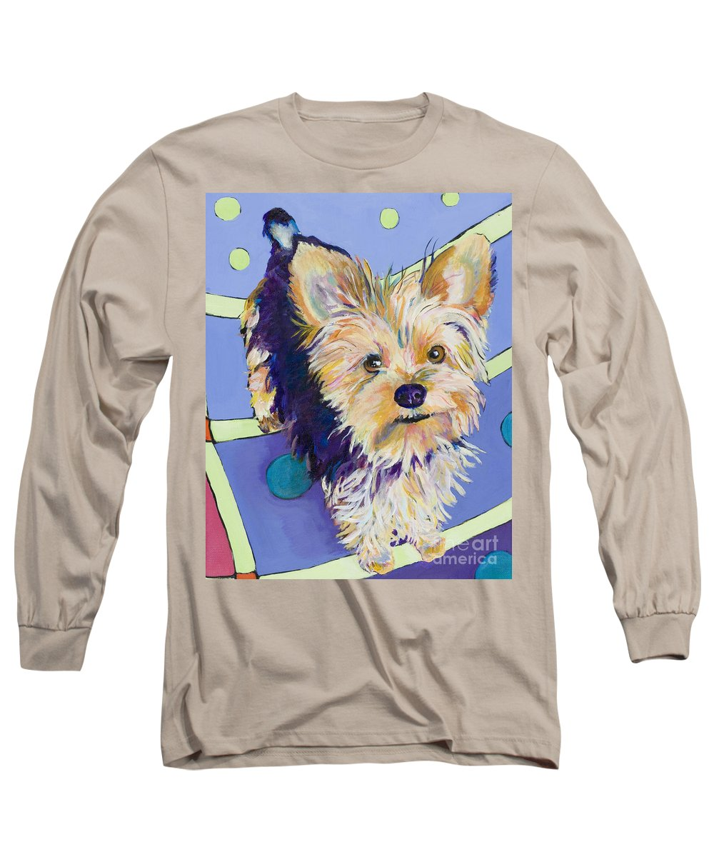 Pet Portraits Long Sleeve T-Shirt featuring the painting Claire by Pat Saunders-White
