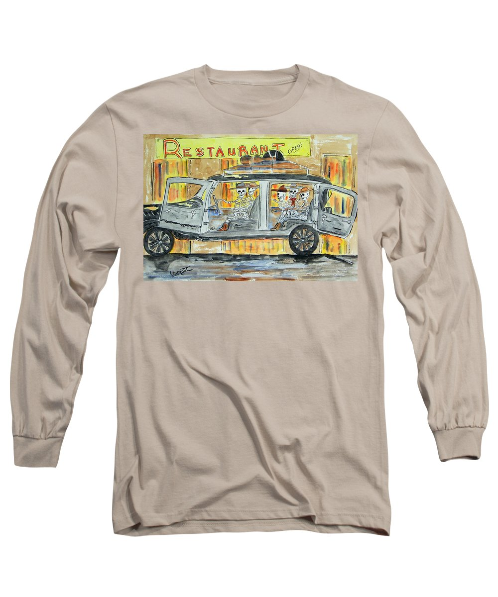 Skeletons Long Sleeve T-Shirt featuring the painting Classic Country Music Never Dies by Larry Wright