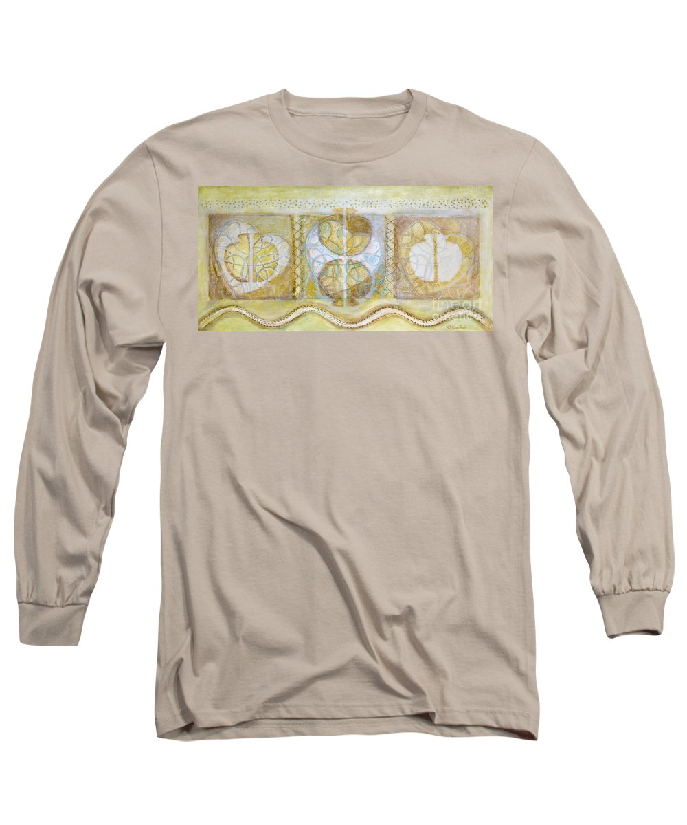 Symbolism Long Sleeve T-Shirt featuring the painting Collective Unconscious Three Equals One Equals Enlightenment by Kerryn Madsen- Pietsch