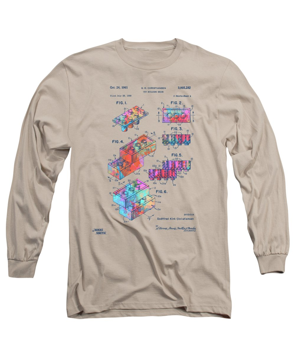 Toy Long Sleeve T-Shirt featuring the digital art Colorful 1961 Toy Building Brick Patent Art by Nikki Marie Smith