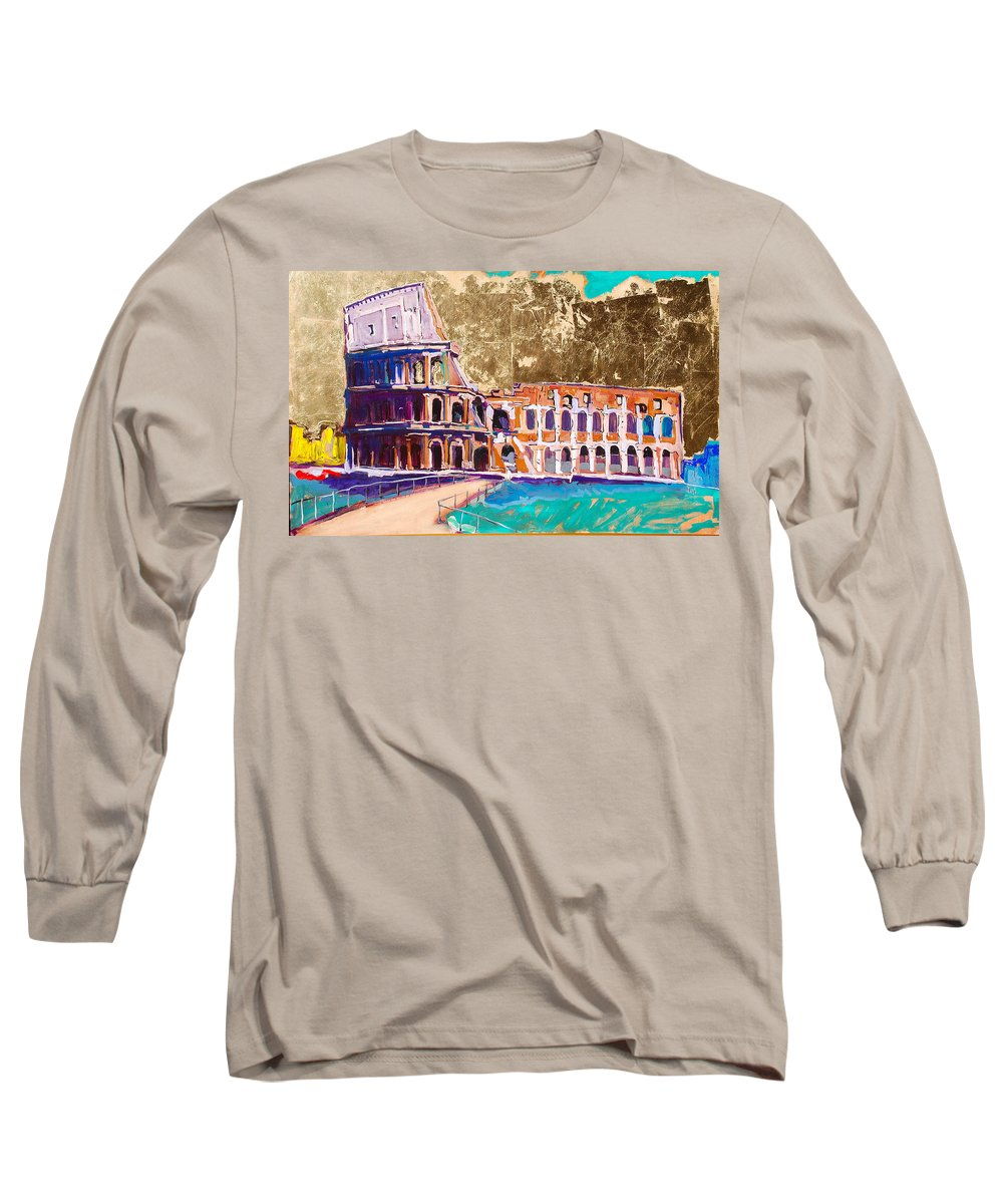 Rome Long Sleeve T-Shirt featuring the painting Colosseum by Kurt Hausmann