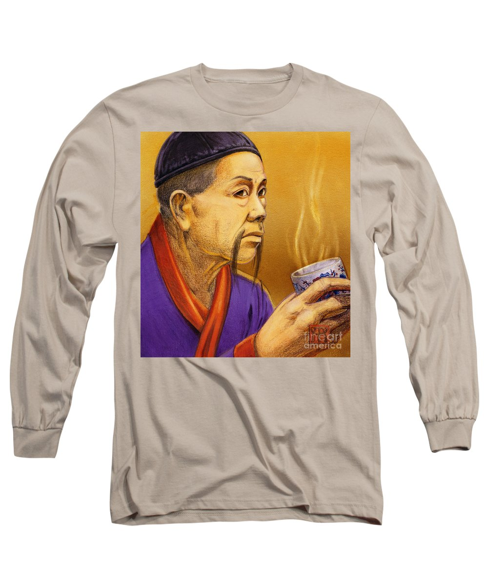 Oriental Long Sleeve T-Shirt featuring the painting Confucian Sage by Melissa A Benson