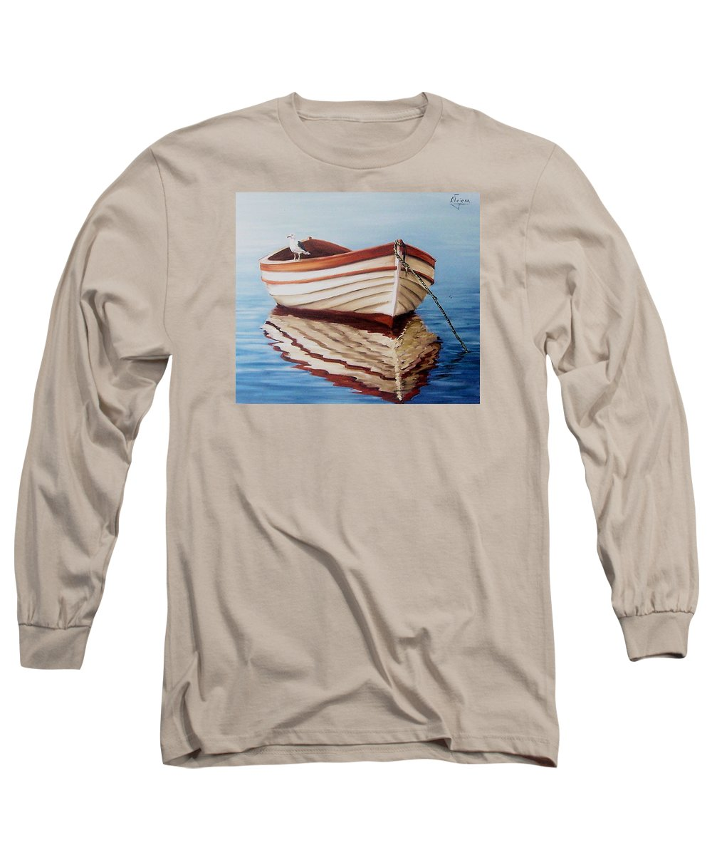 Sea Seascape Boat Reflections Water Ocean Seagull Bird Long Sleeve T-Shirt featuring the painting Contemplative by Natalia Tejera