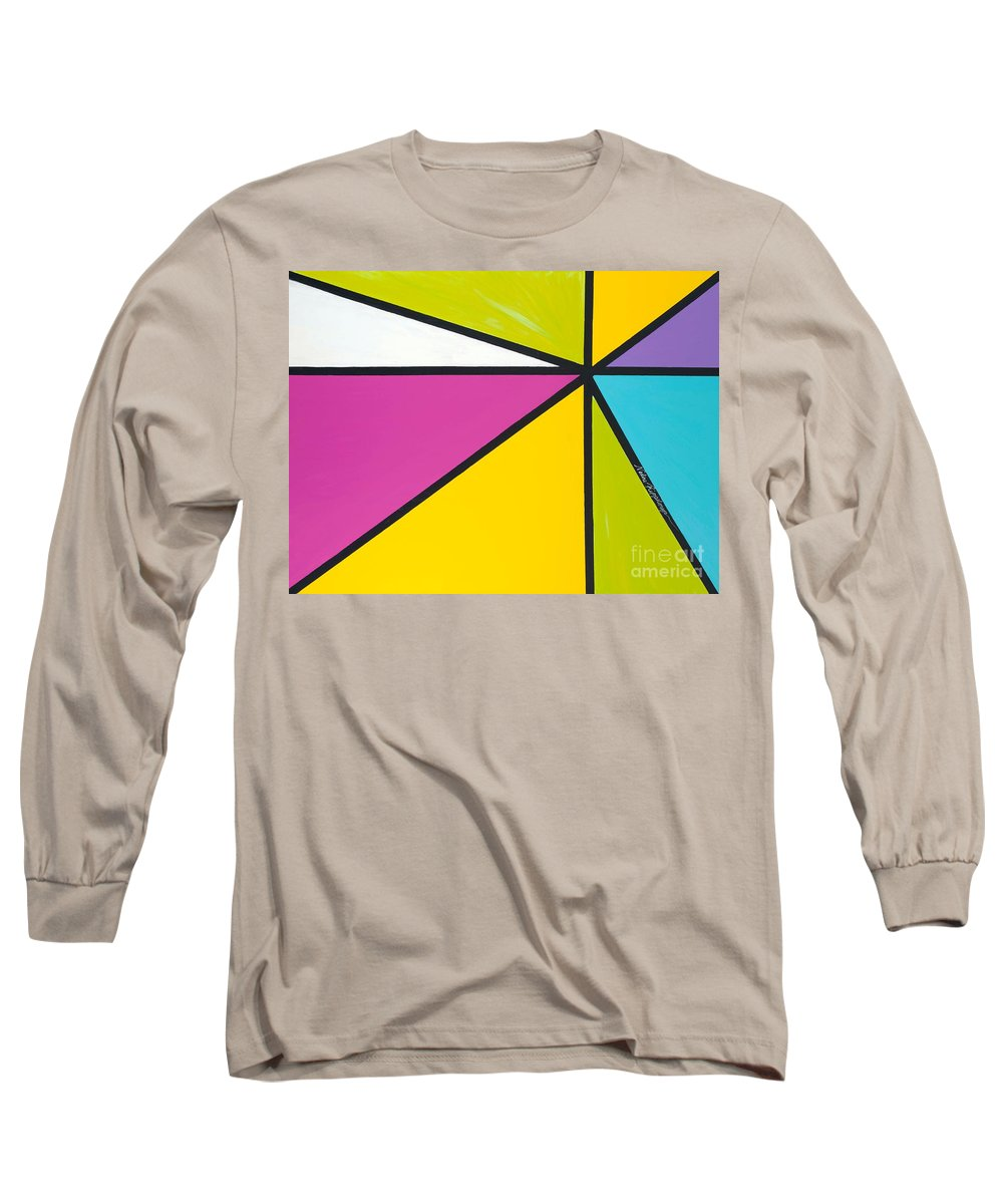 Lines Long Sleeve T-Shirt featuring the painting Convergence by Nadine Rippelmeyer
