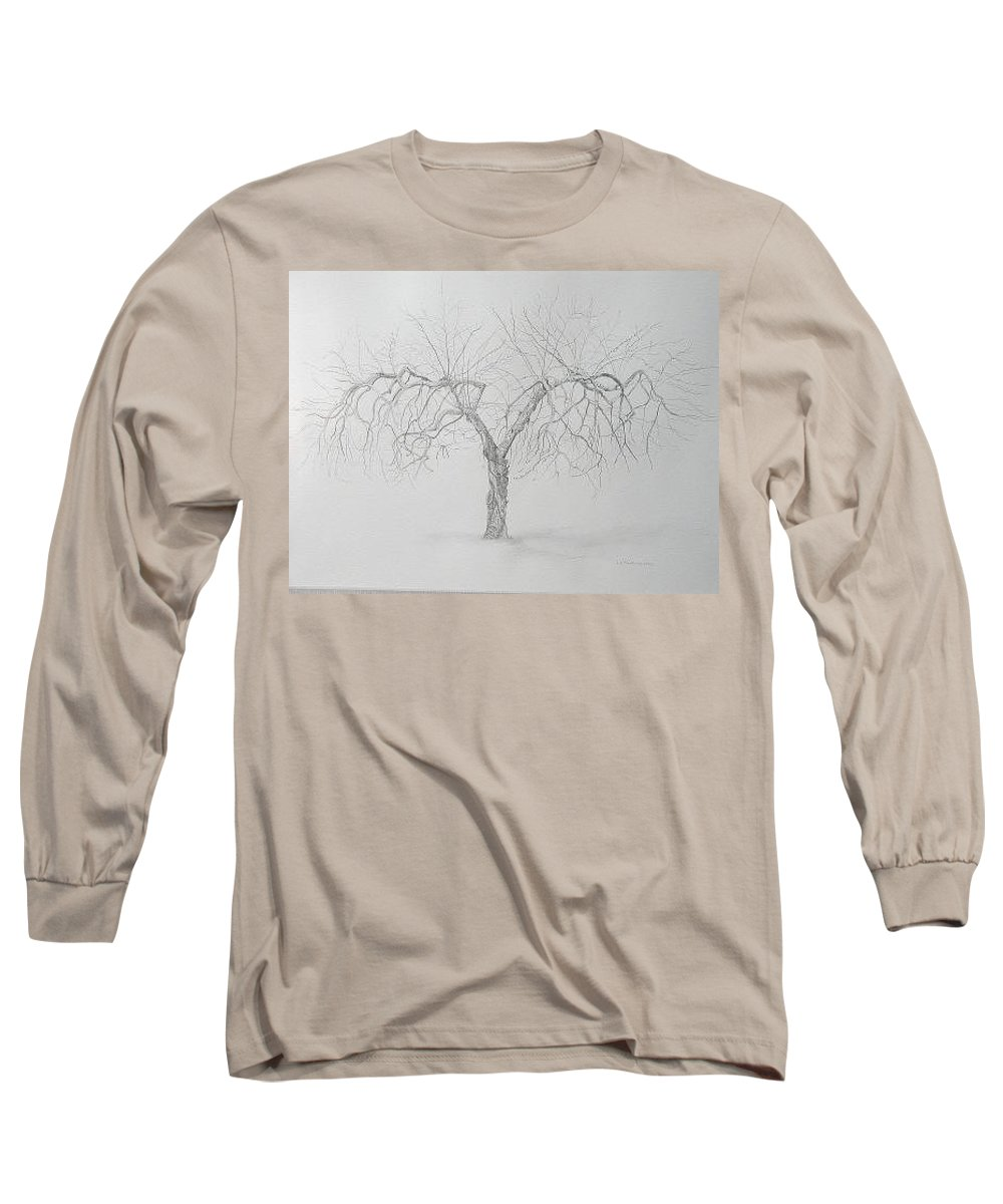 Cortland Apple Tree Long Sleeve T-Shirt featuring the drawing Cortland Apple by Leah Tomaino