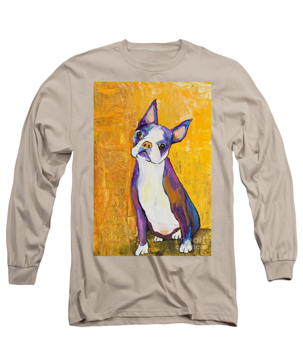Boston Terrier Animals Acrylic Dog Portraits Pet Portraits Animal Portraits Pat Saunders-white Long Sleeve T-Shirt featuring the painting Cosmo by Pat Saunders-White