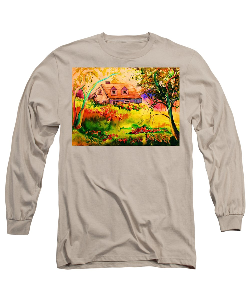 Maine Countryscene Long Sleeve T-Shirt featuring the painting Cottage In Maine by Carole Spandau
