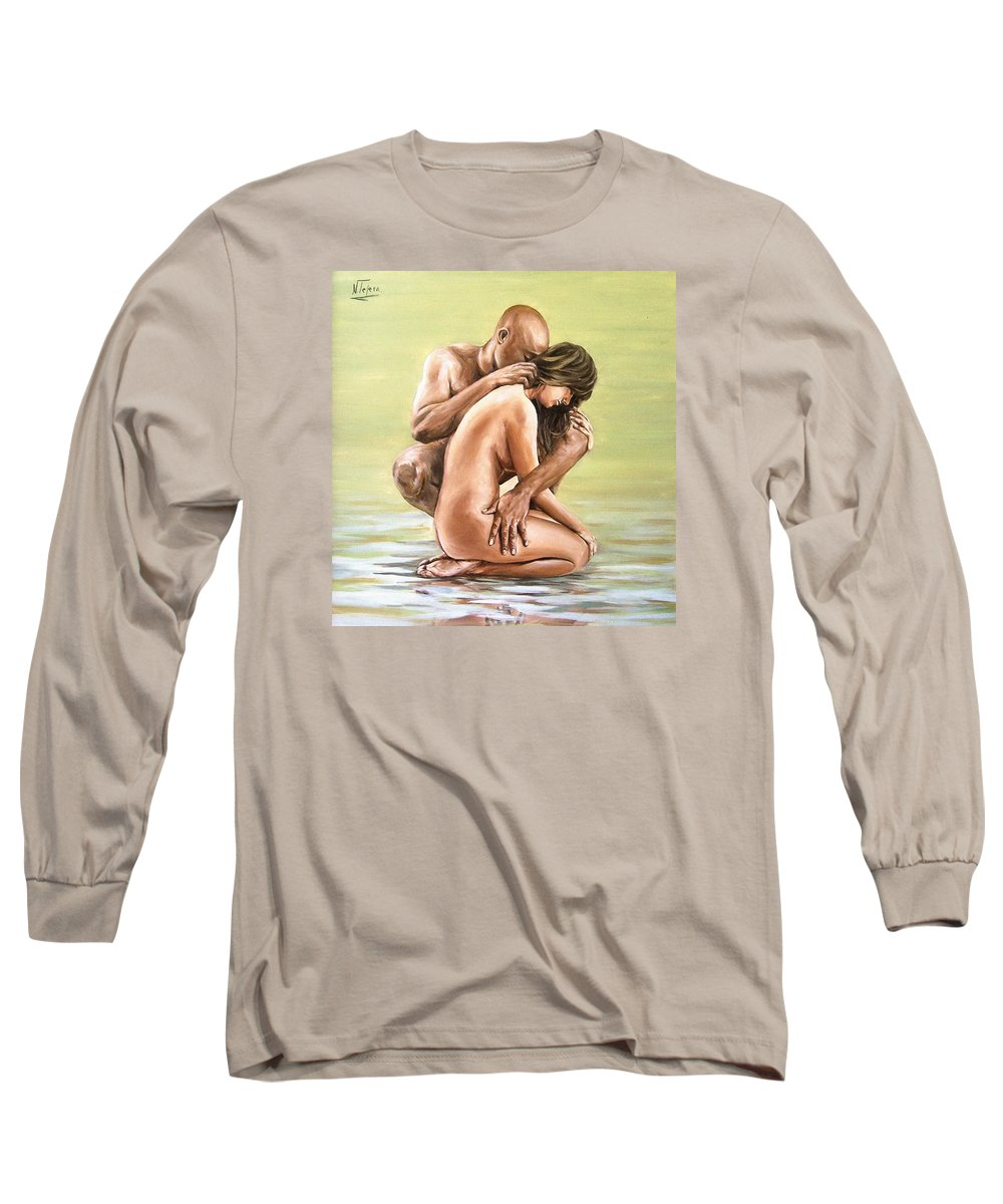 Nude Long Sleeve T-Shirt featuring the painting Couple by Natalia Tejera