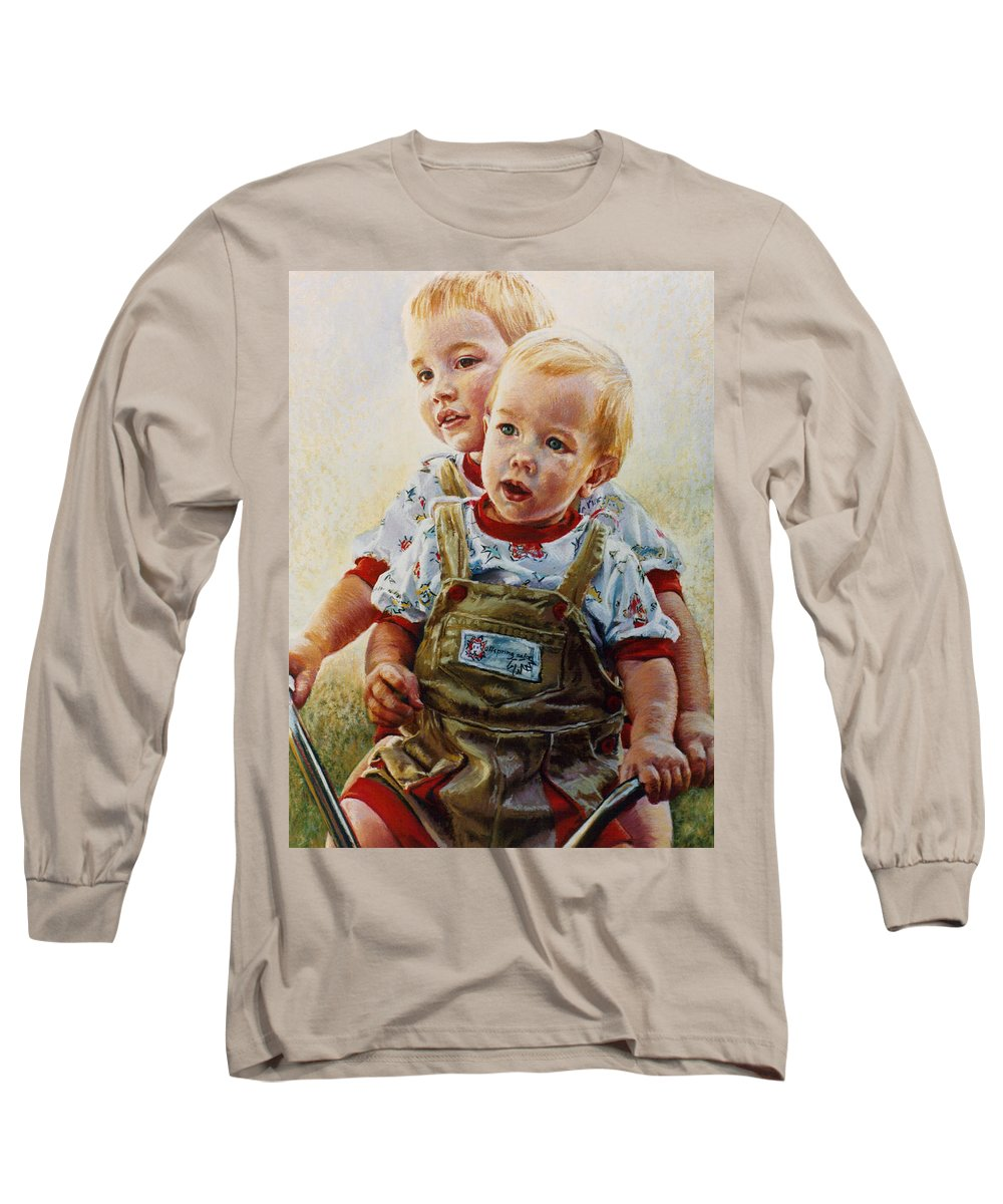 Pastel Portrait Long Sleeve T-Shirt featuring the pastel Cousins by Jean Hildebrant