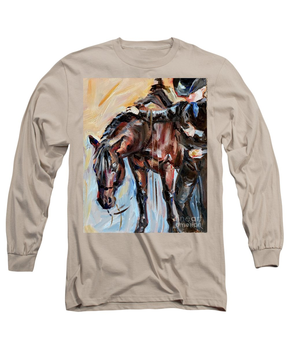 Cowboy And Horse Long Sleeve T-Shirt featuring the painting Cowboy With His Horse by Maria Reichert