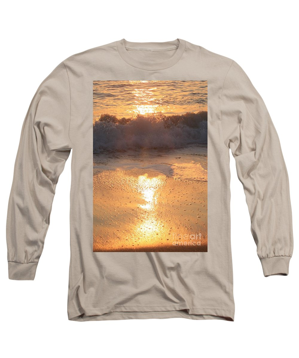 Waves Long Sleeve T-Shirt featuring the photograph Crashing Wave At Sunrise by Nadine Rippelmeyer