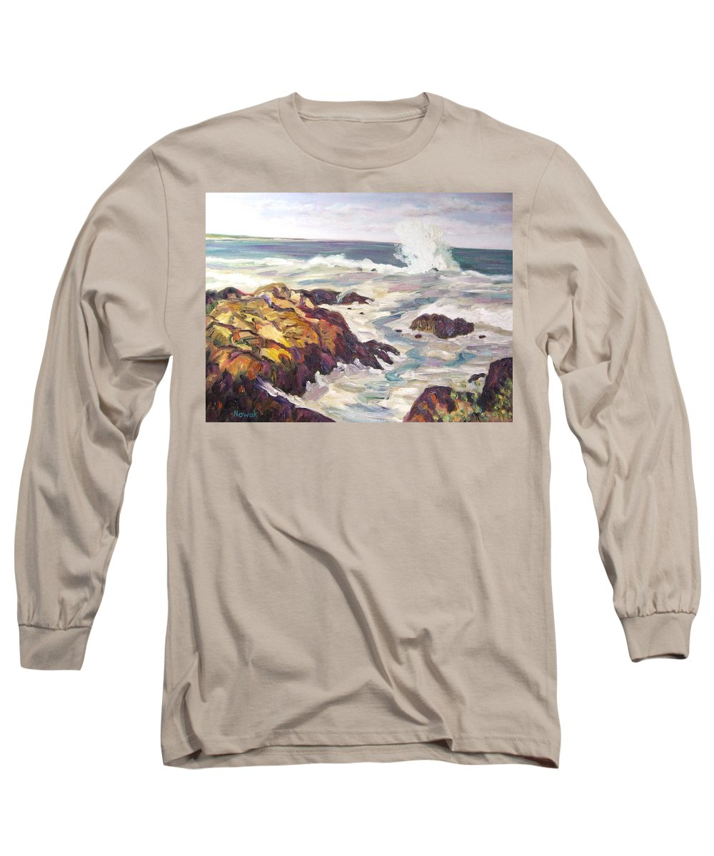 Water Long Sleeve T-Shirt featuring the painting Crashing Wave On Maine Coast by Richard Nowak