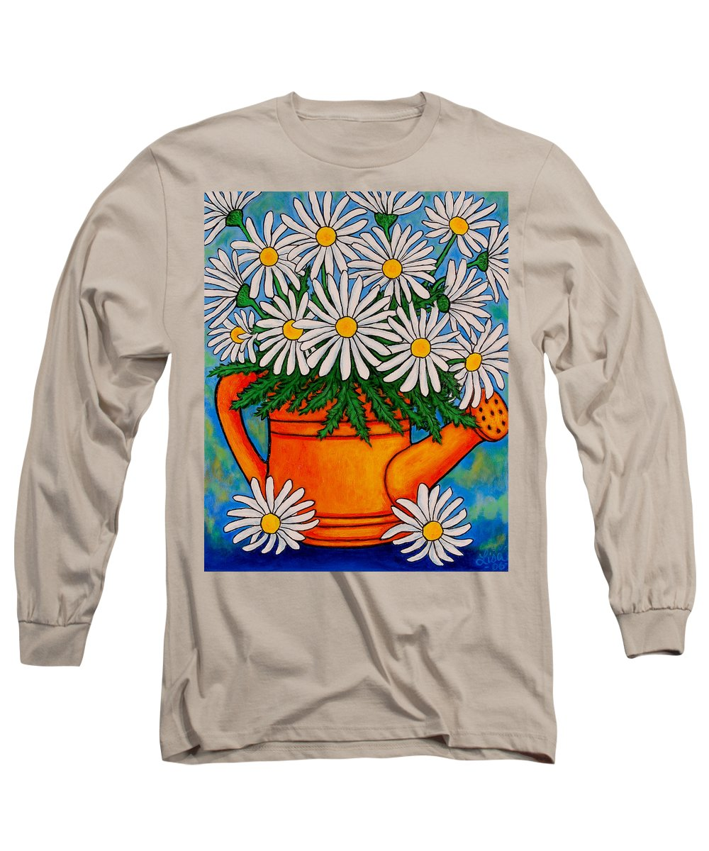 Daisies Long Sleeve T-Shirt featuring the painting Crazy For Daisies by Lisa Lorenz