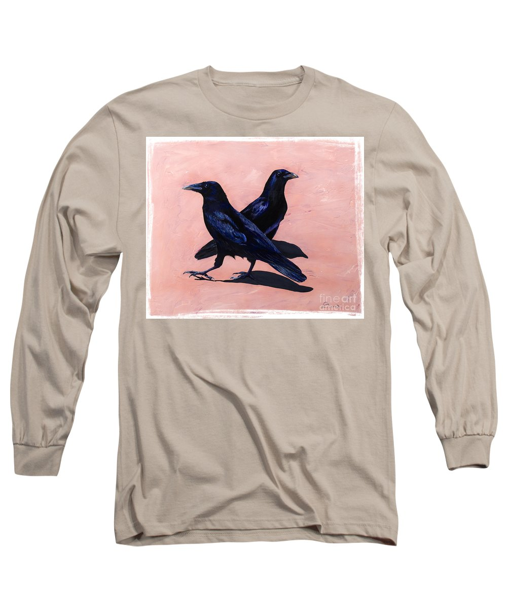 Crows Long Sleeve T-Shirt featuring the painting Crows by Sandi Baker