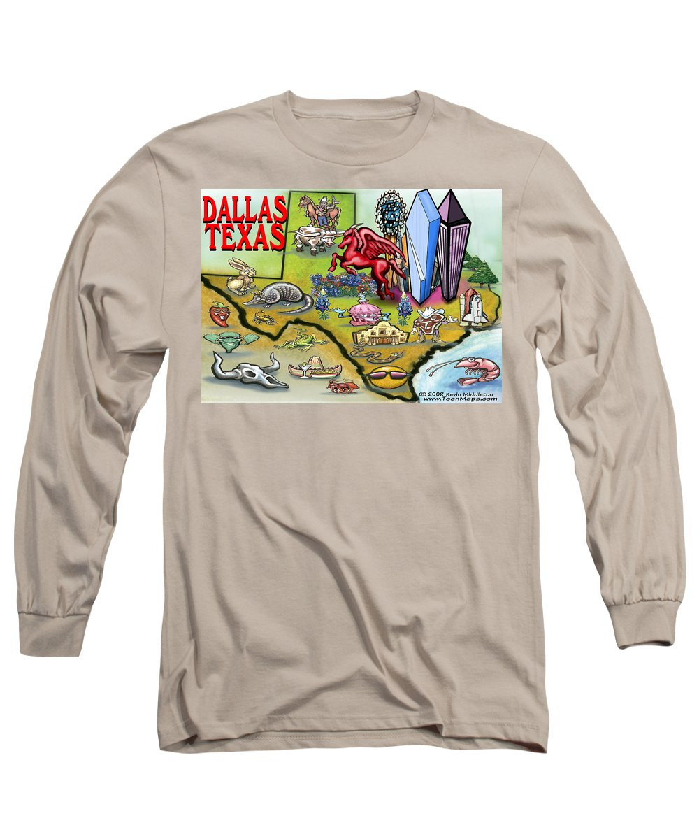 Dallas Long Sleeve T-Shirt featuring the digital art Dallas Texas Cartoon Map by Kevin Middleton