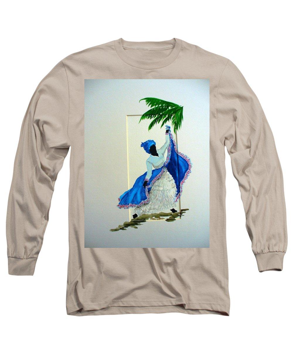 Folk Dance Caribbean Tropical Long Sleeve T-Shirt featuring the painting Dance De Pique by Karin Dawn Kelshall- Best