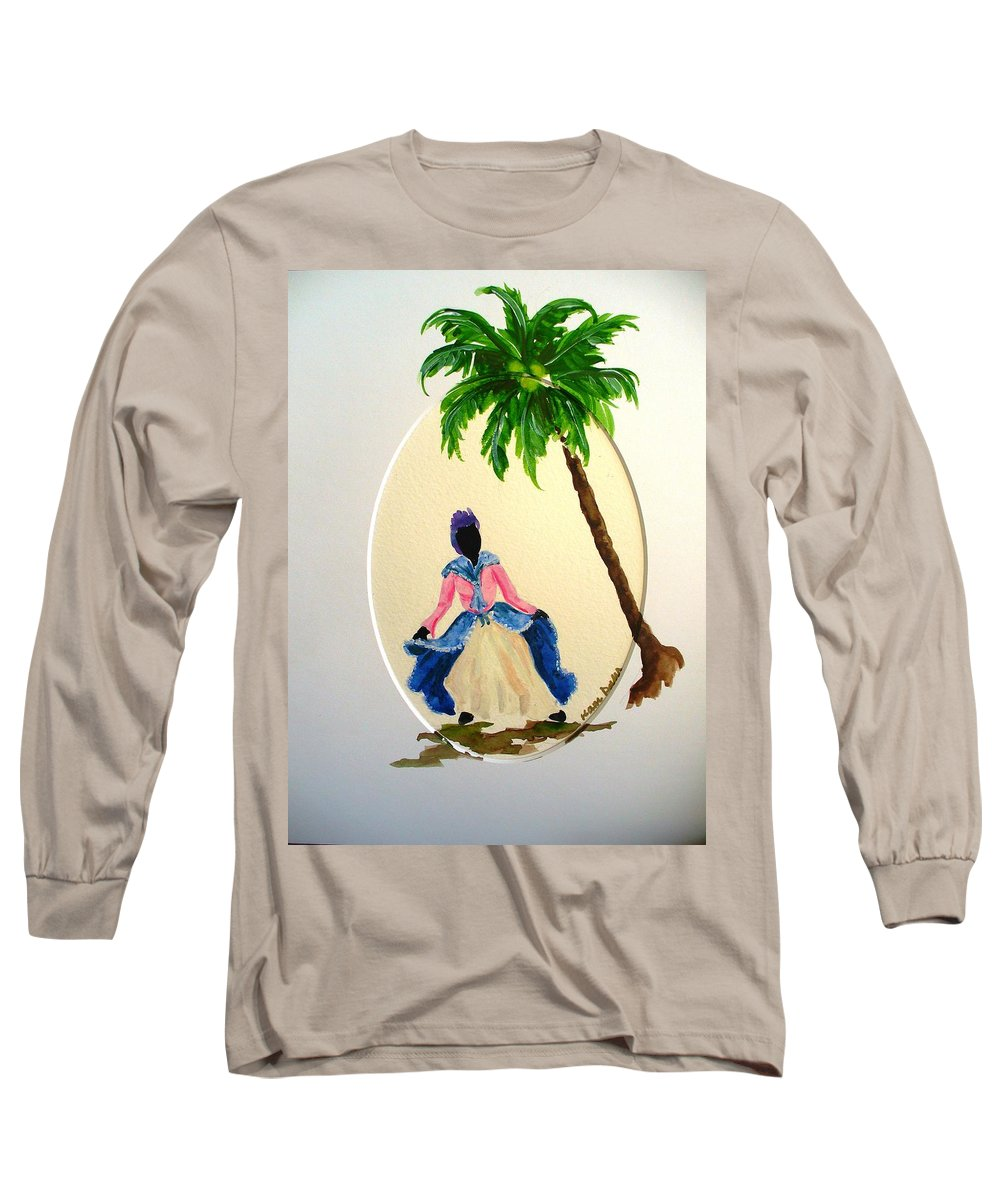 Dancer Caribbean Long Sleeve T-Shirt featuring the painting Dancer 2 by Karin Dawn Kelshall- Best