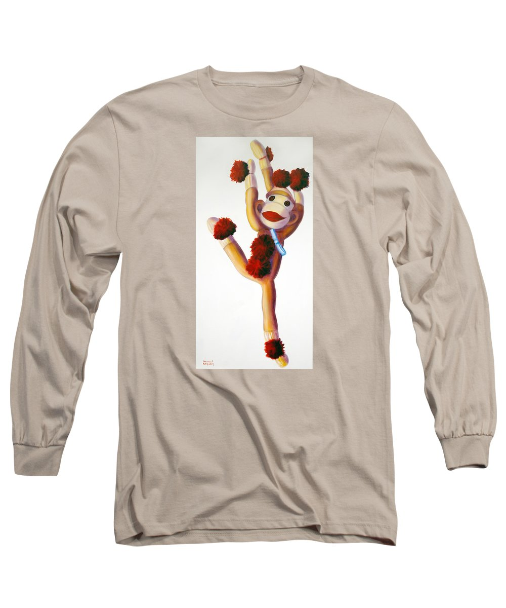 Dancer Long Sleeve T-Shirt featuring the painting Dancer Made Of Sockies by Shannon Grissom