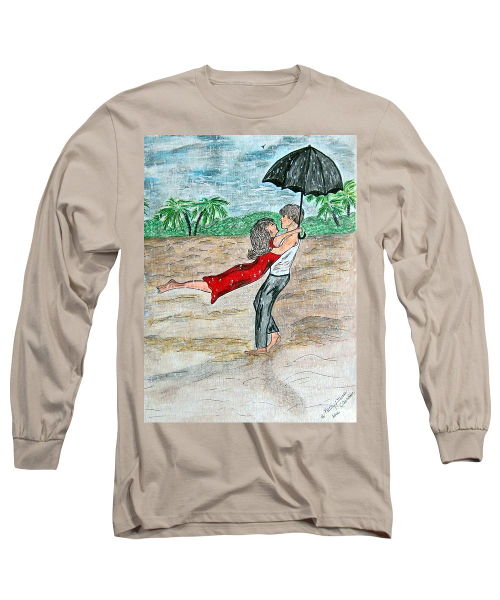Dancing Long Sleeve T-Shirt featuring the painting Dancing In The Rain On The Beach by Kathy Marrs Chandler
