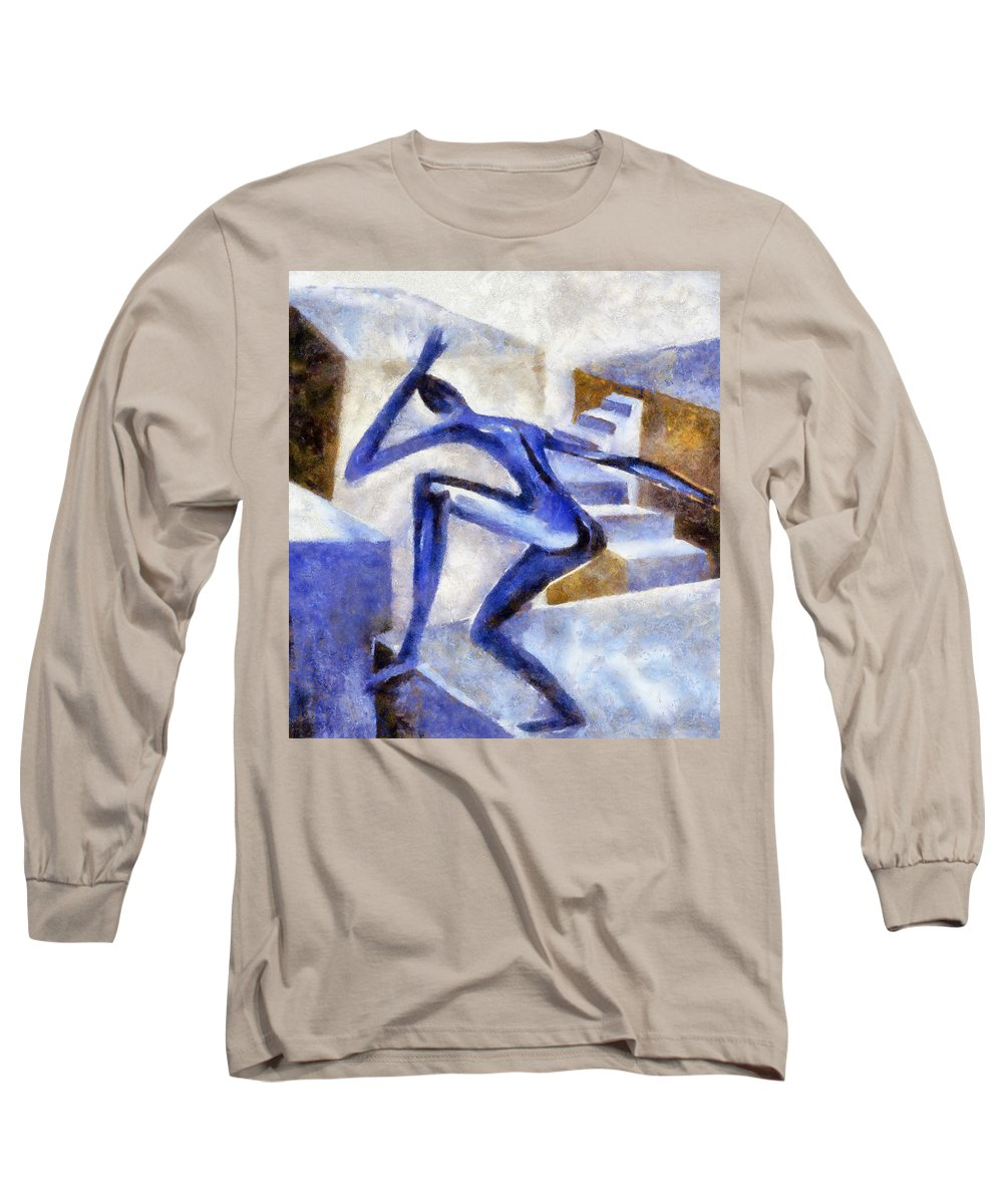 Conceptual Long Sleeve T-Shirt featuring the painting Dancing Off The Edge Of The World by Michelle Calkins
